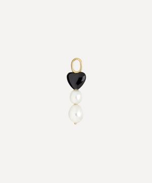 Gold-Plated Queen Pearl and Onyx Heart Charm
