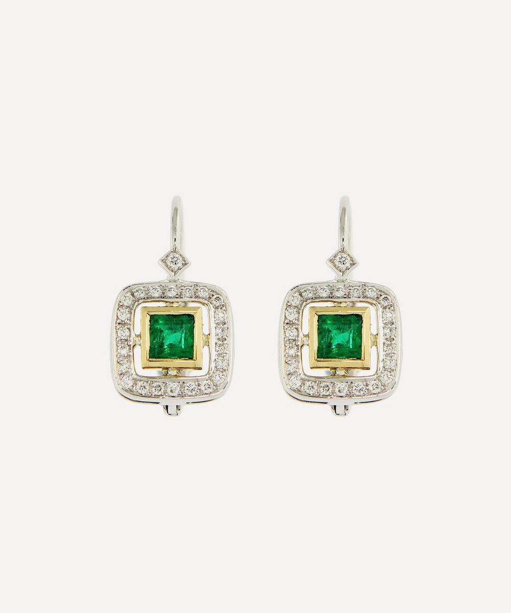 Kojis - White Gold Art Deco-Style Emerald and Diamond Drop Earrings