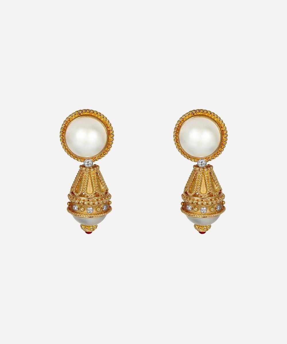 Kojis - Gold Pearl and Diamond Detachable Drop Earrings