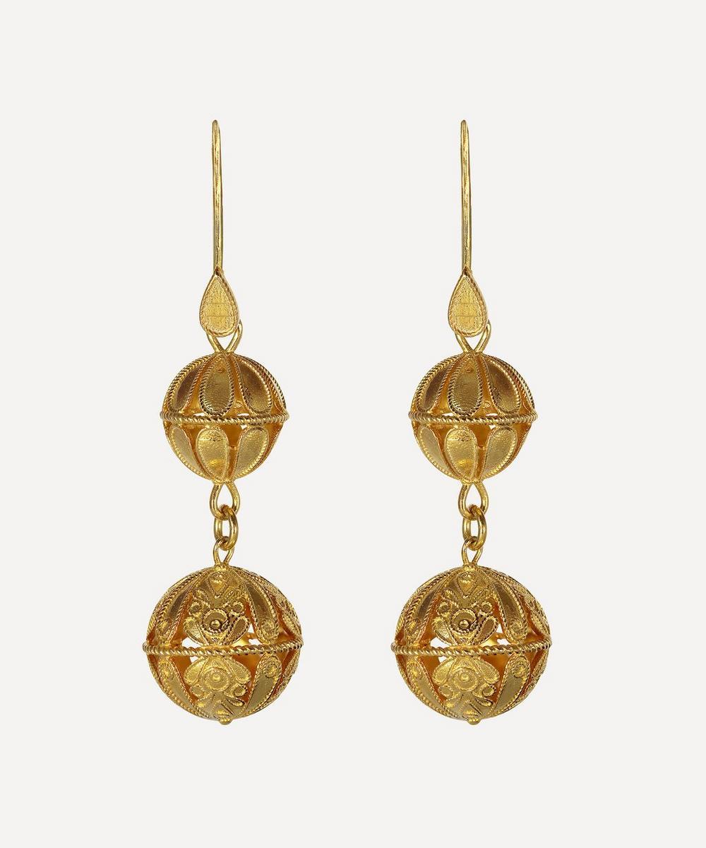 Kojis - Silver-Gilt Large Decorative Drop Earrings
