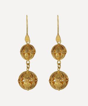 Silver-Gilt Large Decorative Drop Earrings