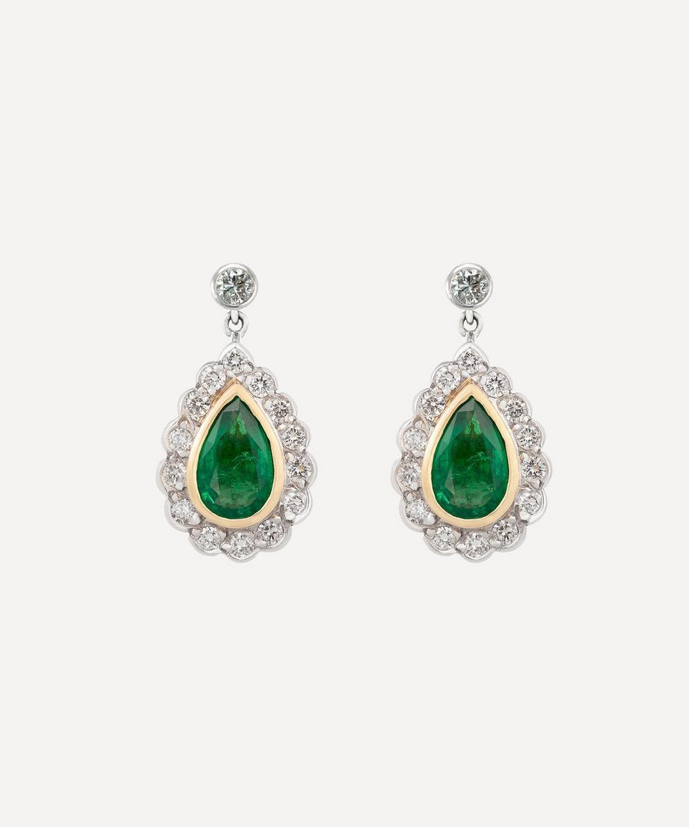 Kojis - White Gold Emerald and Diamond Drop Earrings