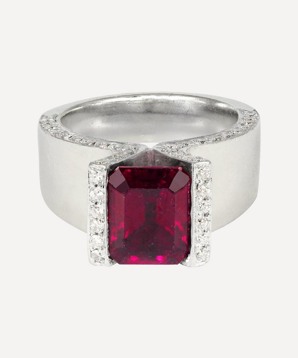 Kojis - White Gold Rubellite Tourmaline and Diamond Ring