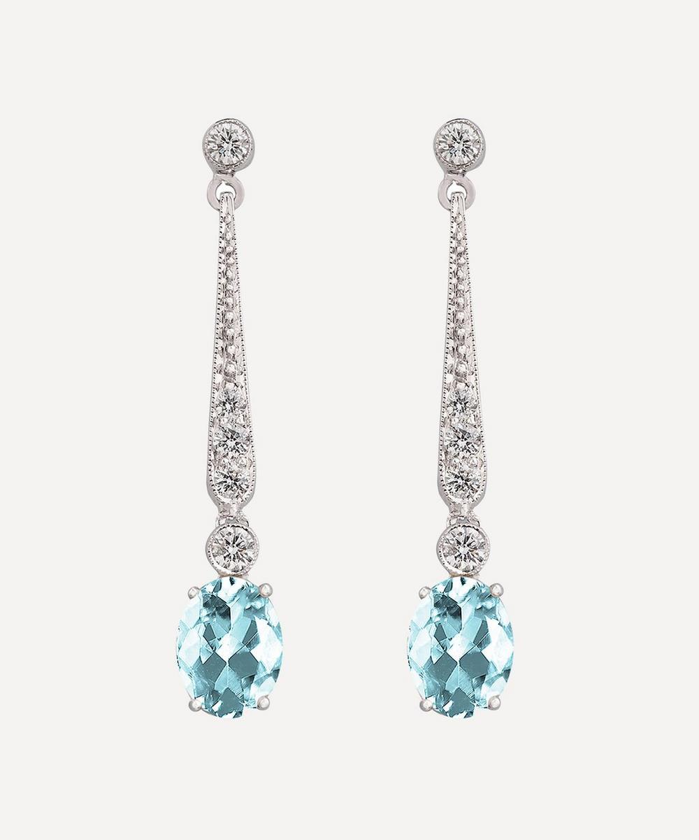 Kojis - White Gold Aquamarine and Diamond Drop Earrings