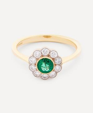 Gold Emerald and Diamond Flower Cluster Ring