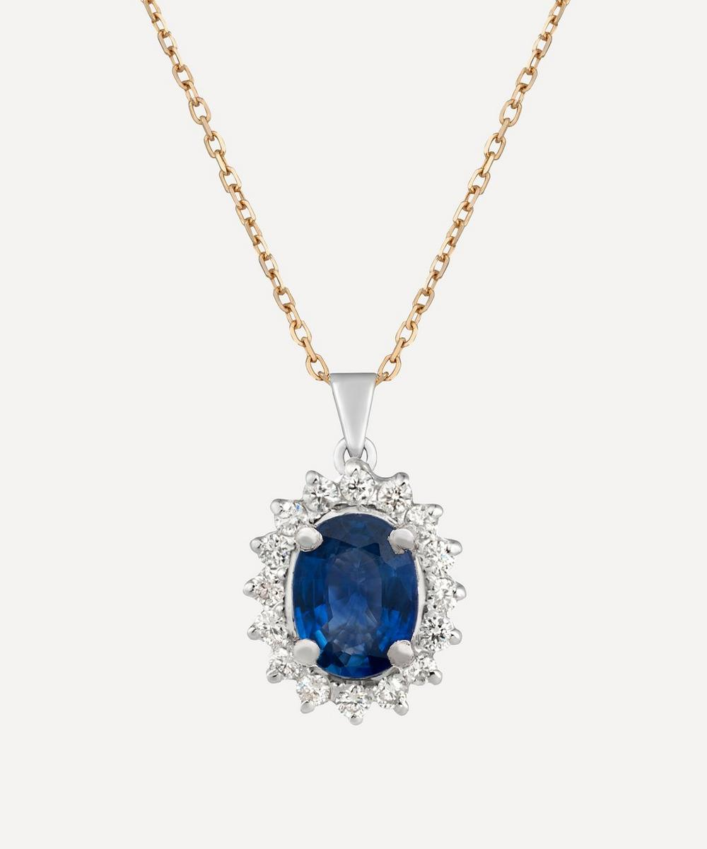 Kojis - Gold Sapphire and Diamond Cluster Pendant Necklace