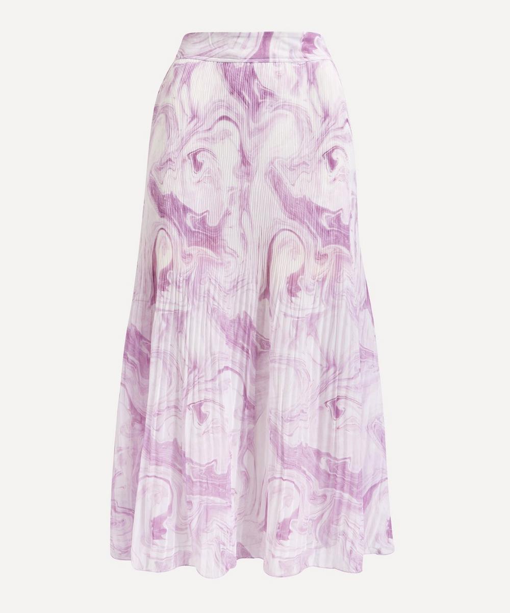 Ganni - Swirl Pleated Georgette Midi-Skirt