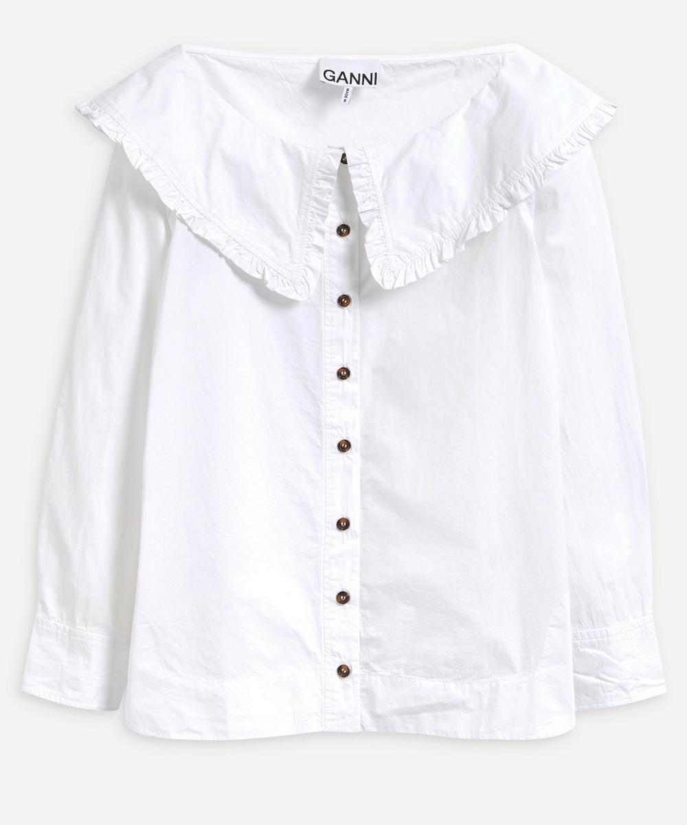 Ganni - Boat Neck Collar Poplin Shirt
