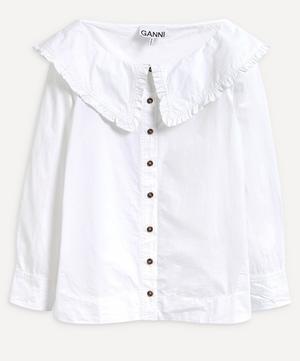 Boat Neck Collar Poplin Shirt