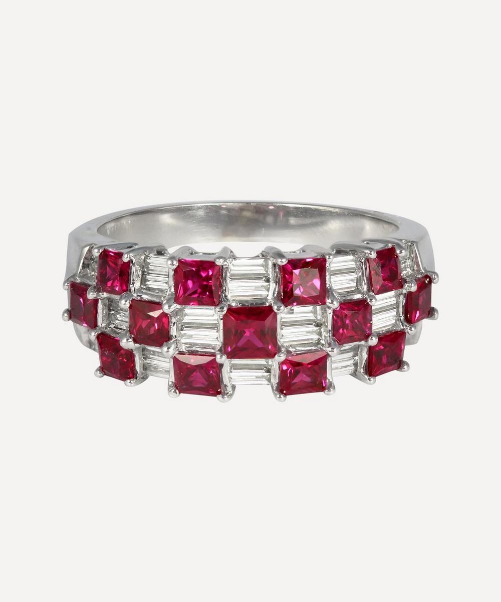 Kojis - White Gold Ruby and Diamond Checkerboard Ring