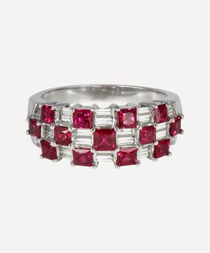 White Gold Ruby and Diamond Checkerboard Ring