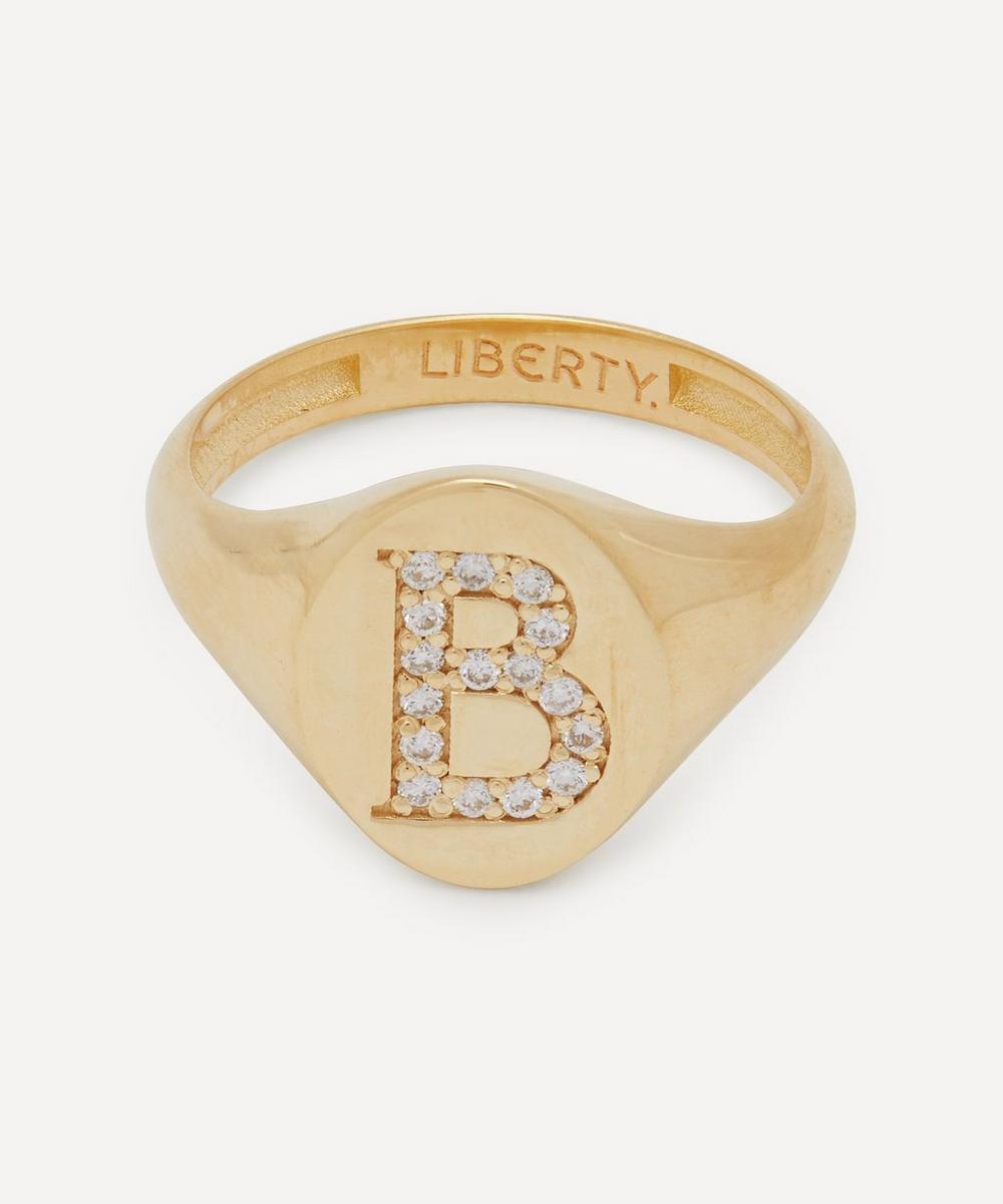 Liberty - Gold and Diamond Initial Liberty Signet Ring – B