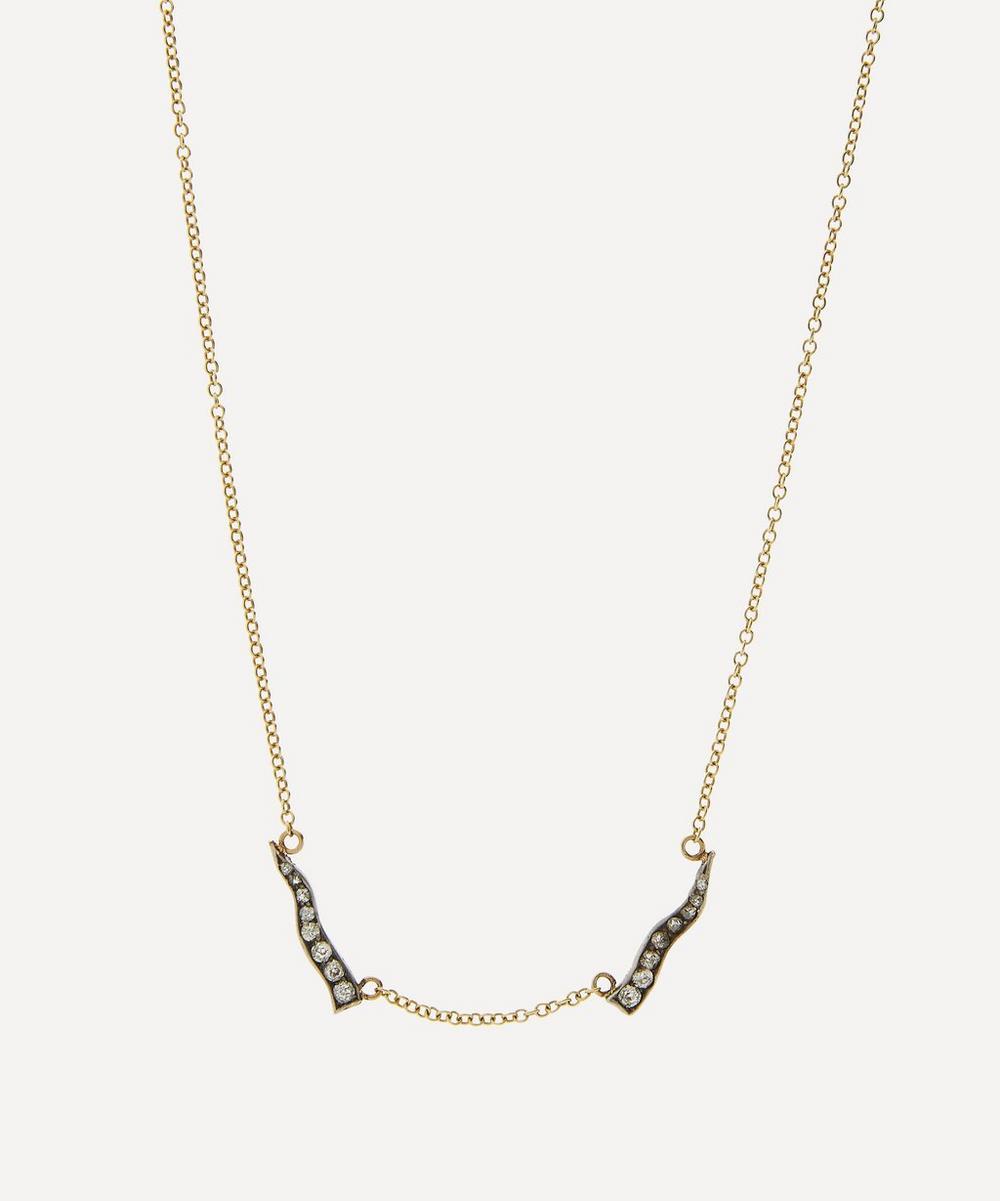 Annina Vogel - Old Cut Diamond Talons Gold Victorian Brooch Conversion Necklace