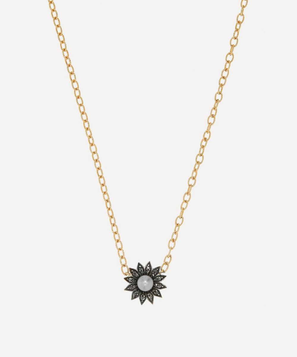 Annina Vogel - Rose Cut Diamond and Pearl Flower Gold Modern Bespoke Necklace