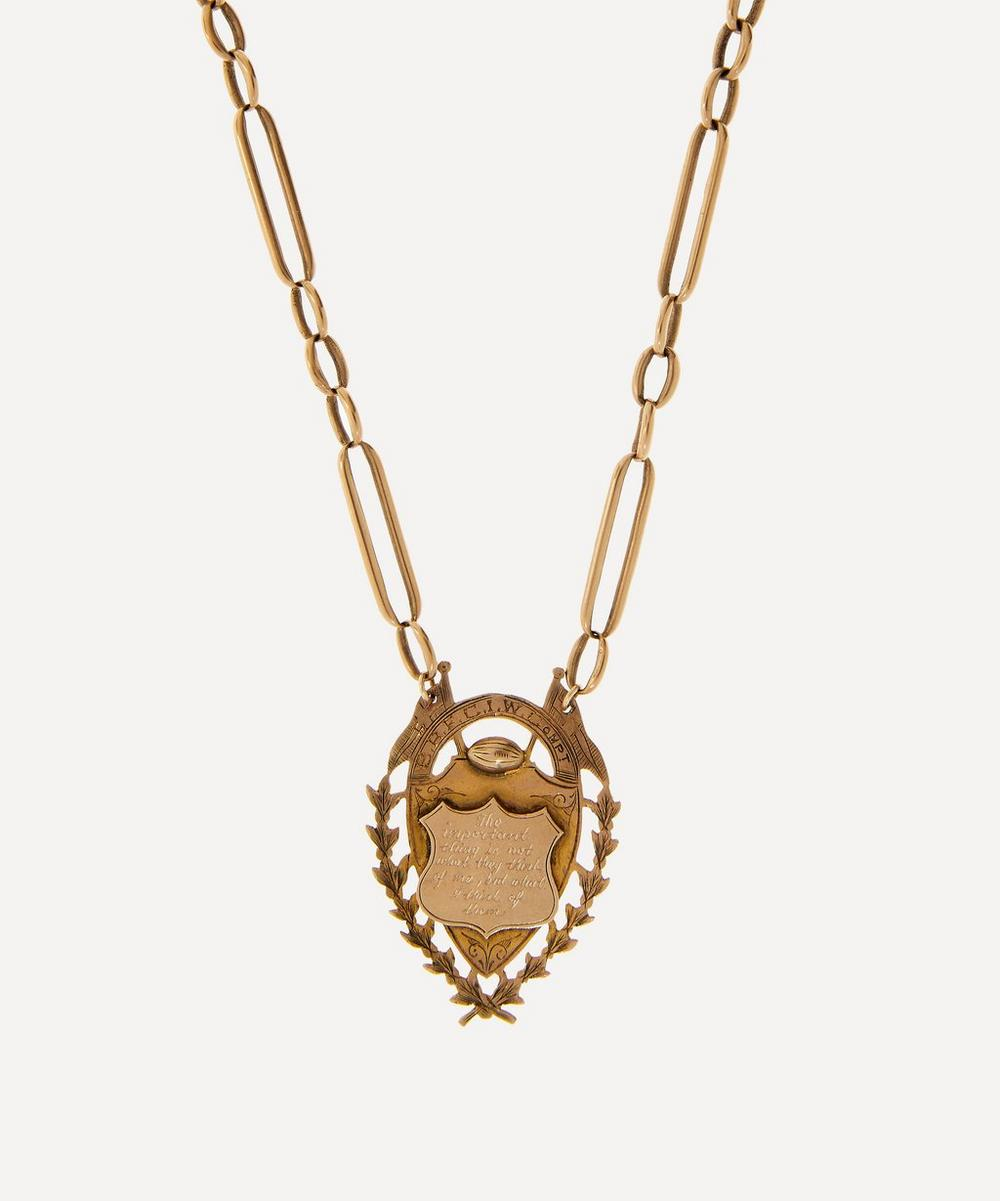 Annina Vogel - 'The Important Thing' Engraved Medallion Gold Necklace