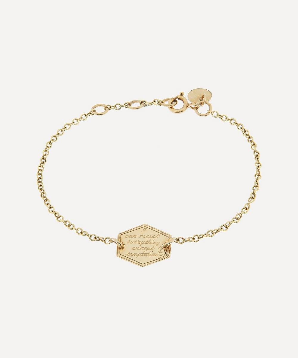 Annina Vogel - 'I Can Resist' Octagonal Engraved Disc Gold Bracelet