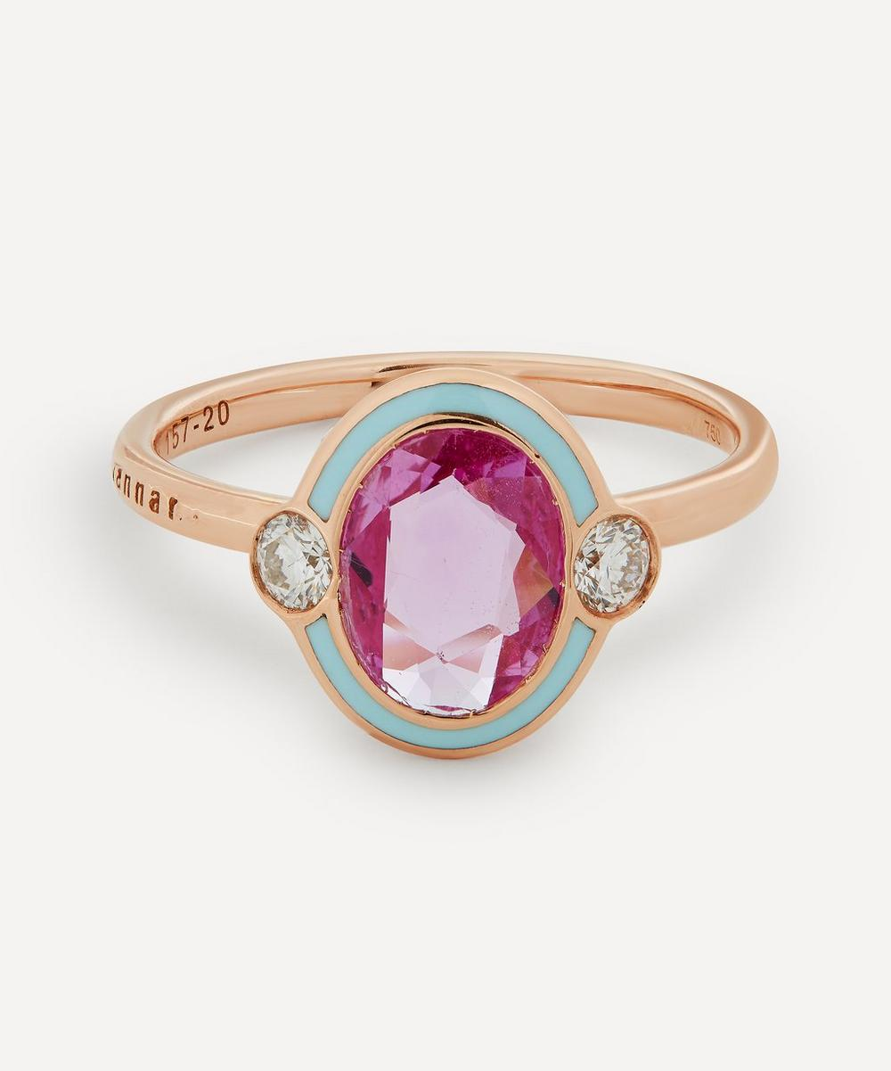 Selim Mouzannar - Rose Gold Gemma Pink Sapphire and Diamond Enamel Ring