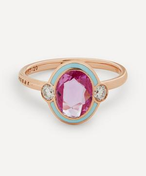 Rose Gold Gemma Pink Sapphire and Diamond Enamel Ring
