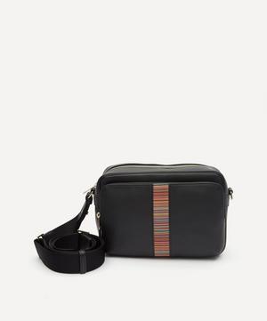 Signature Stripe Leather Messenger Bag