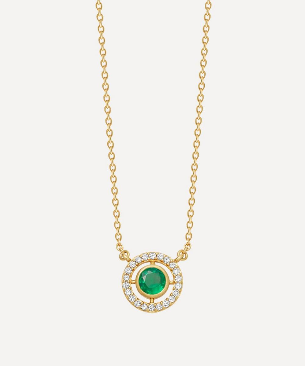 Astley Clarke - Gold Mini Icon Aura Emerald and Diamond Pendant Necklace