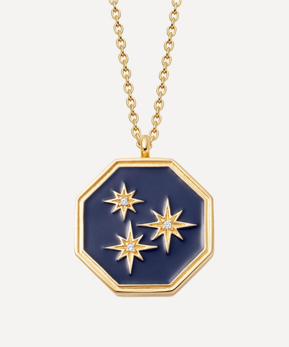 Astley Clarke - Gold Plated Vermeil Silver Celestial Blue Enamel Constellation Locket Necklace