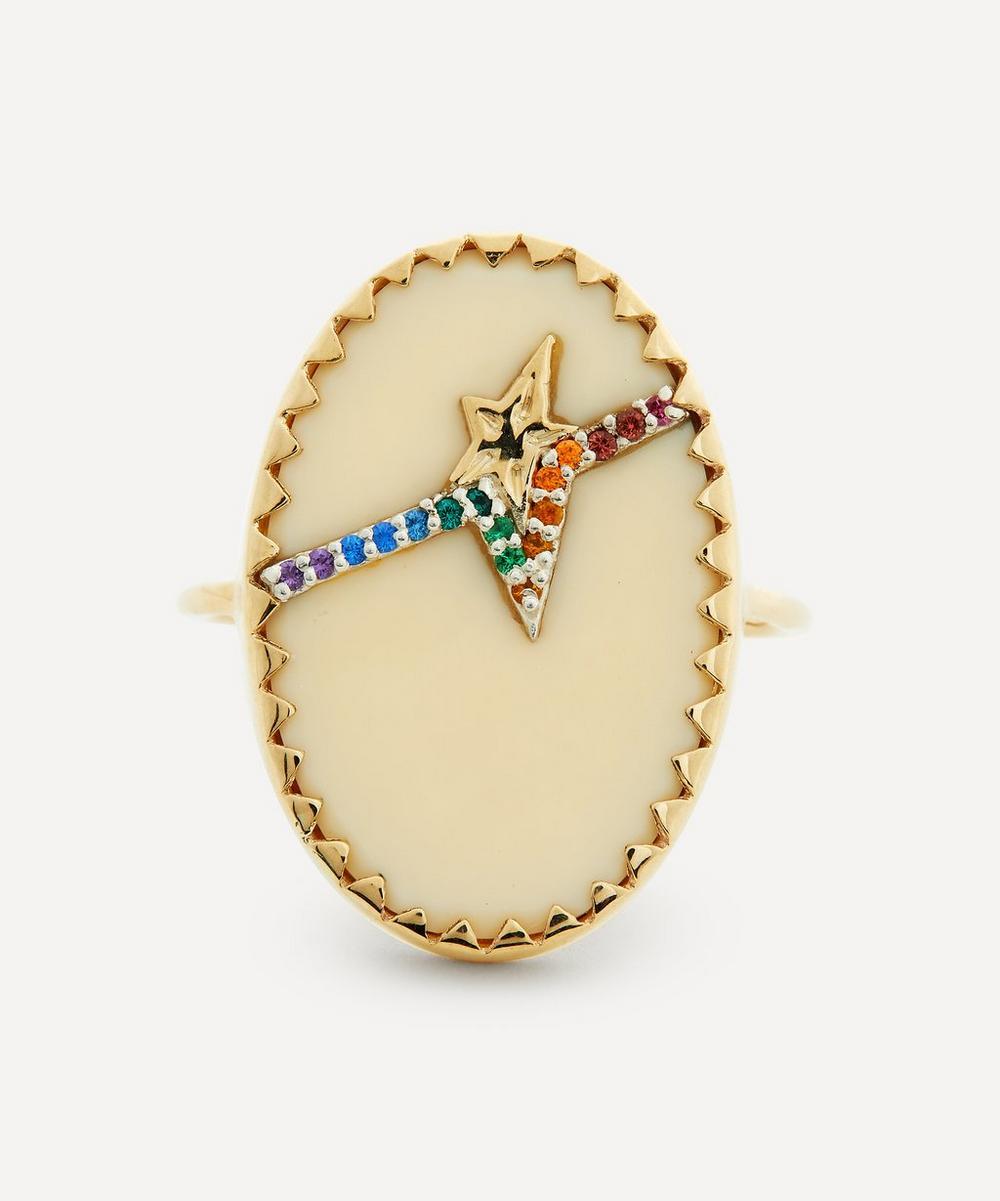 Pascale Monvoisin - Gold Varda N°3 Rainbow Nanogem and Bakelite Ring