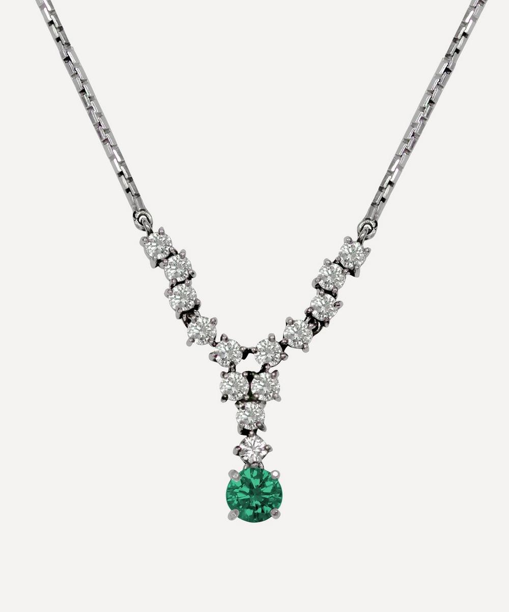 Kojis - White Gold Emerald and Diamond Pendant Necklace