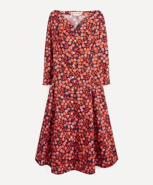 Floral Open-Neck Cotton-Poplin Dress