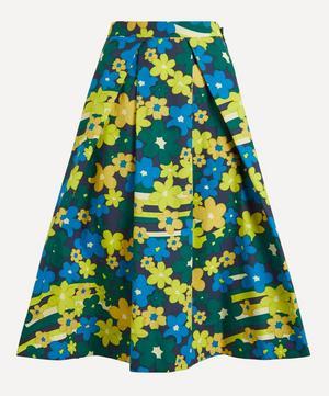 Floral Cotton Midi-Skirt