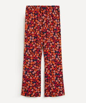 Floral Crepe Flared Trousers
