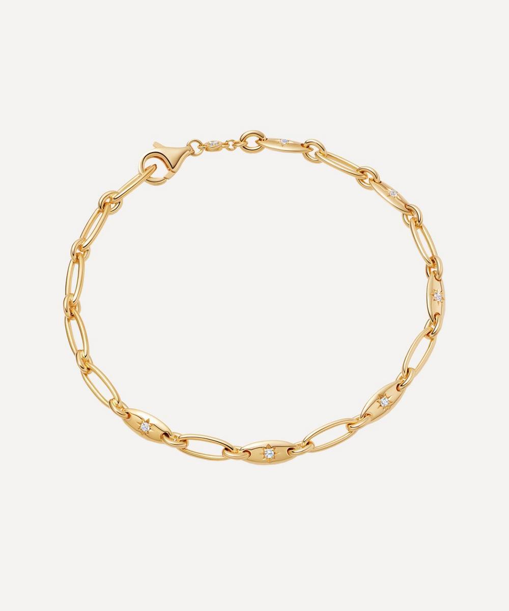 Astley Clarke - Gold Plated Vermeil Silver Celestial Orbit White Sapphire Chain Bracelet