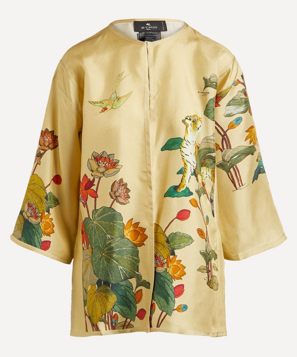 Etro - Tiger and Water Lily Print Silk Poncho