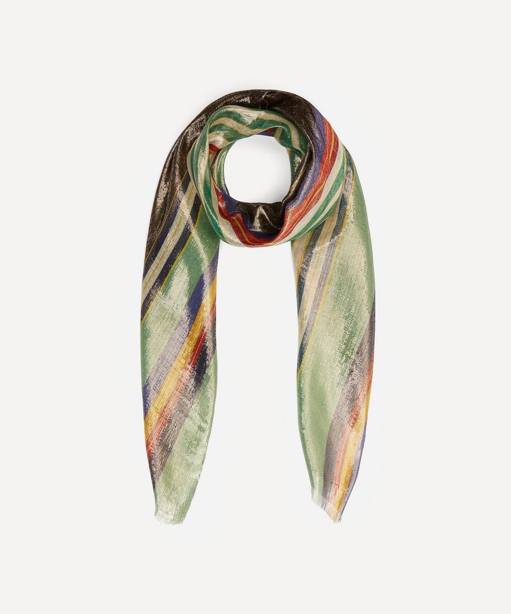 Etro - Metallic Stripe Silk-Blend Scarf