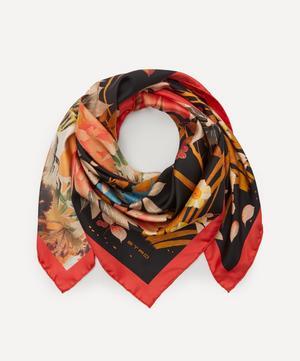 Floral Tiger Print Silk Scarf