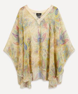 Paisley Print Silk Poncho