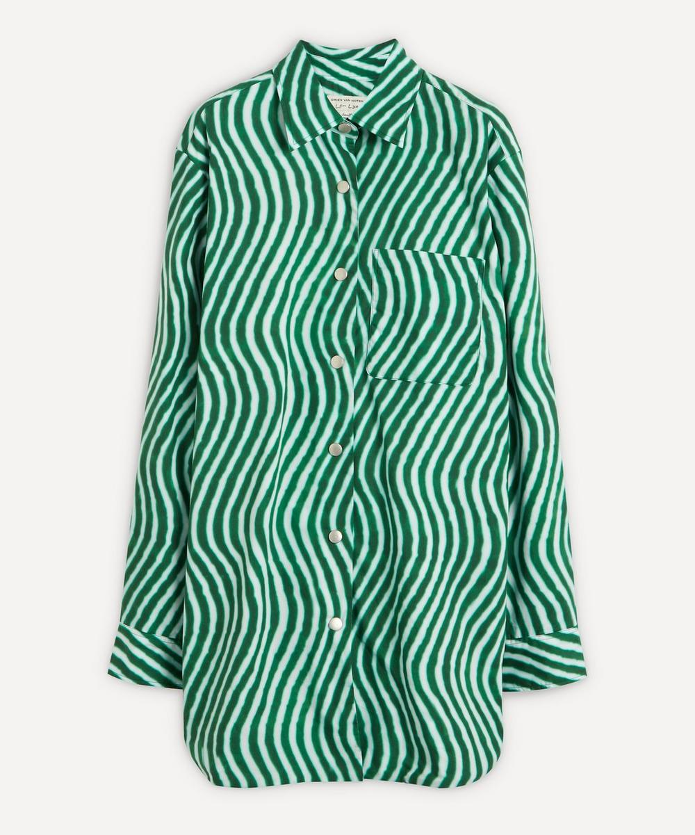 Dries Van Noten - Oversized Zigzag Pattern Crepe Shirt