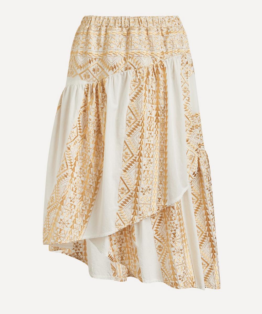 Kori - Faux-Wrap Embroidered Midi-Skirt