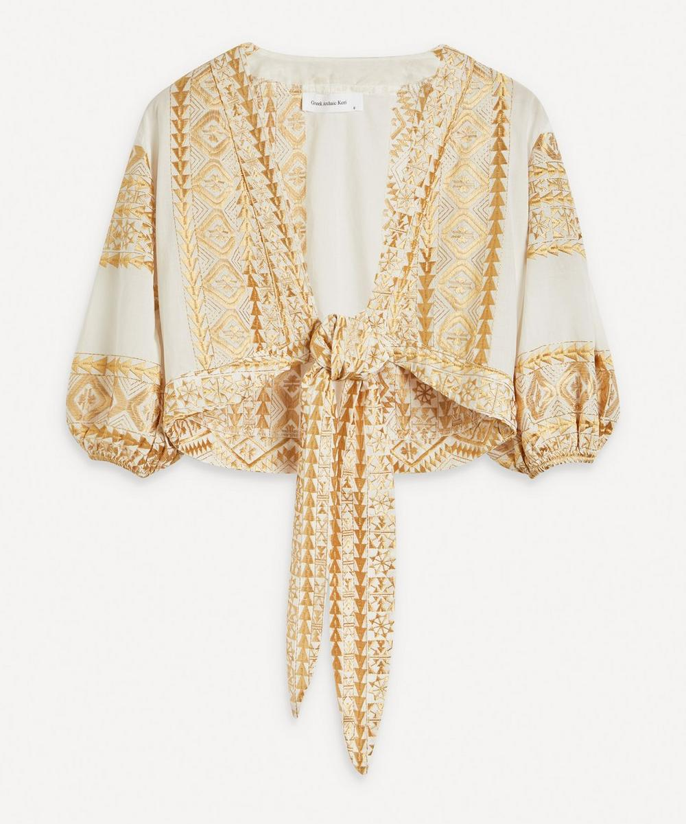 Kori - Embroidered Tie-Front Top
