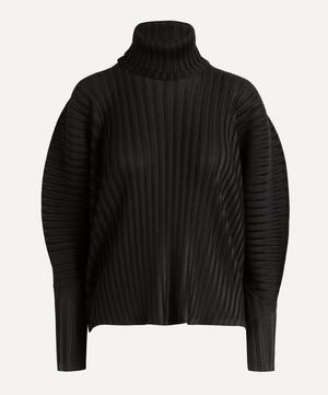 Rib Pleats Exaggerated Sleeve Top