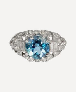 Platinum Aquamarine and Diamond Art Deco Ring