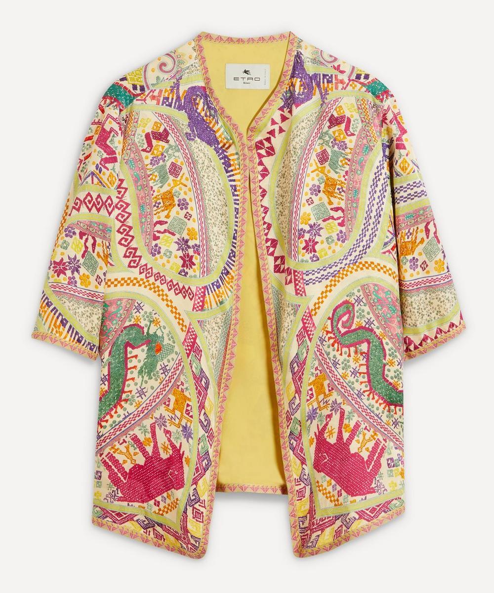 Etro - Short-Sleeve Printed Silk Jacket