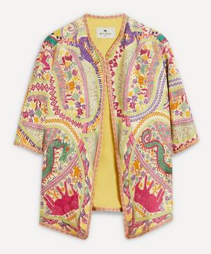 Short-Sleeve Printed Silk Jacket