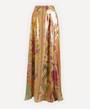 Metallic Silk-Blend Maxi-Skirt