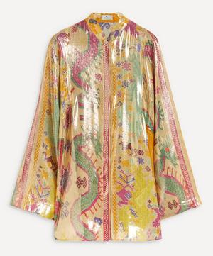 Metallic Silk-Blend Wide-Sleeve Tunic-Top