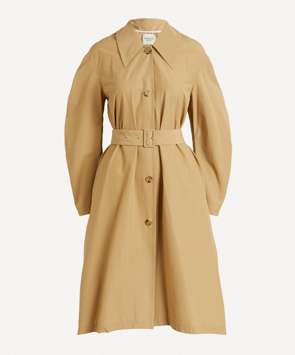 A.W.A.K.E. MODE - Trench Coat With Pleated Back Insert