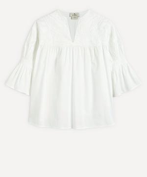 Embroidered Shoulder Cotton Top