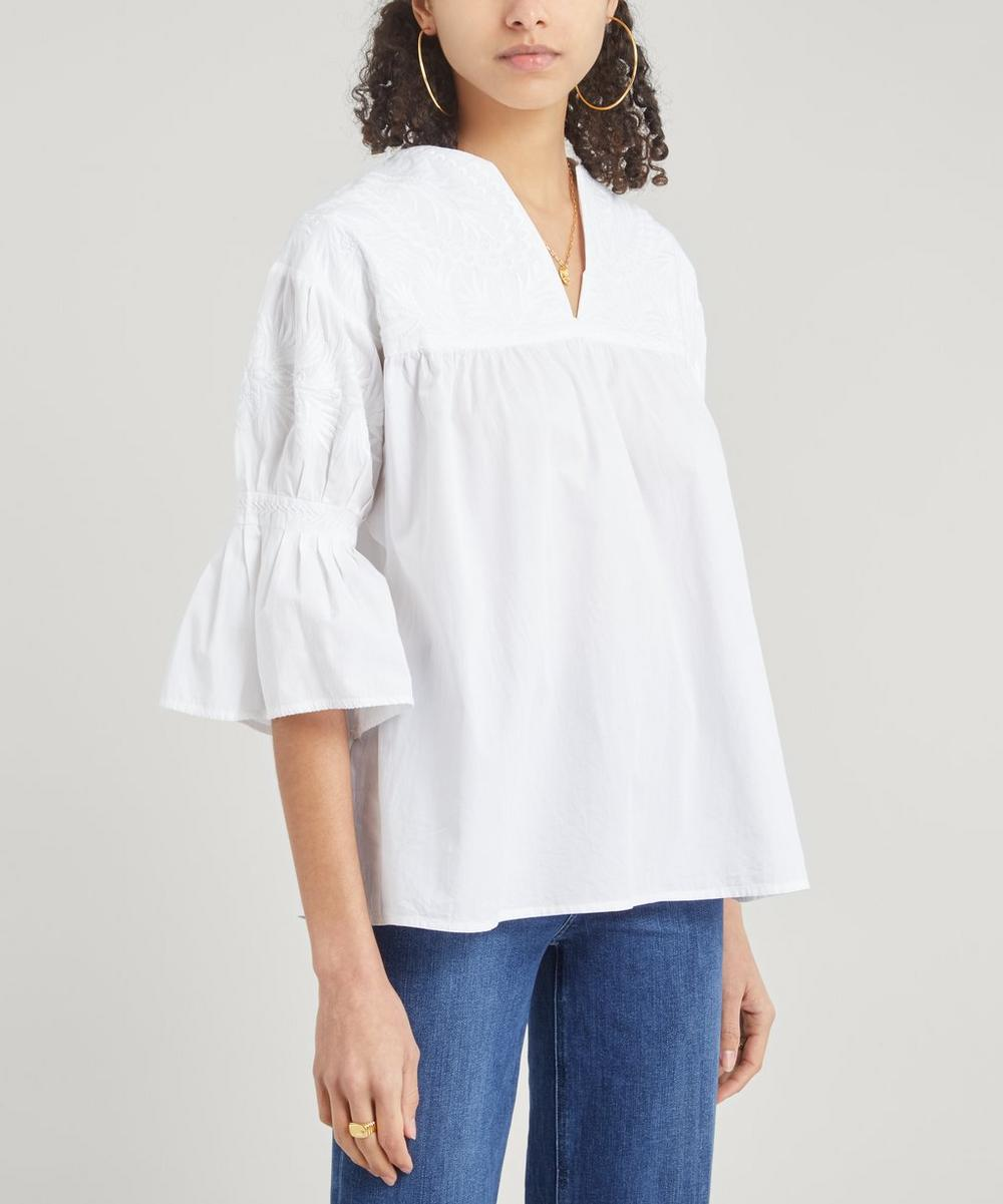 Etro - Embroidered Shoulder Cotton Top