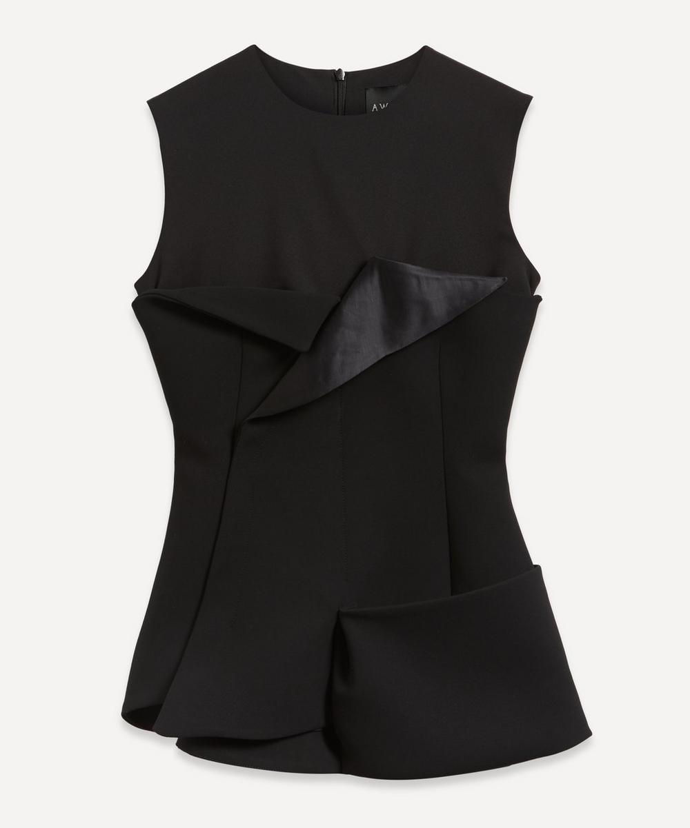 A.W.A.K.E. - Corset Detail Sleeveless Tuxedo Top