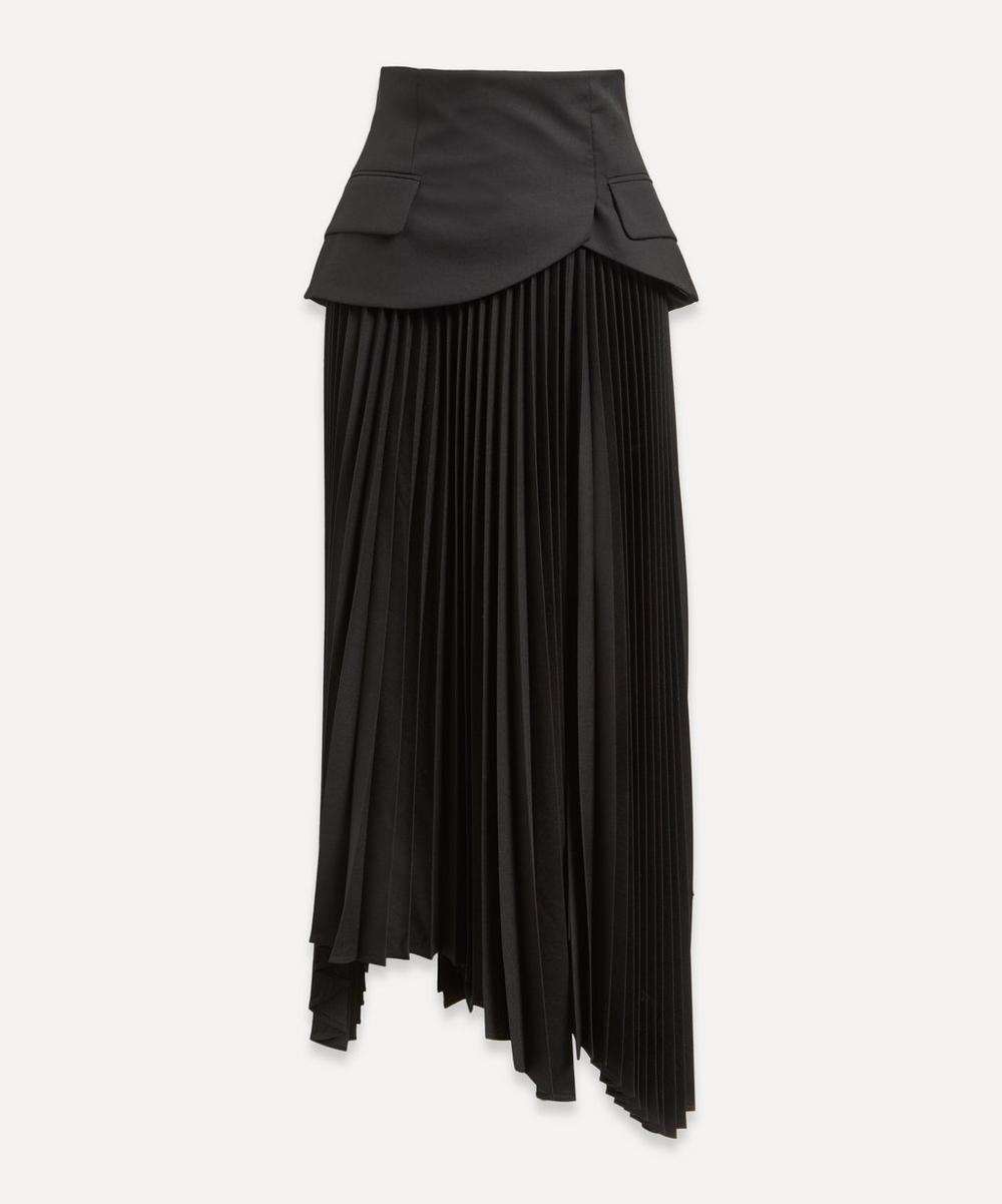 A.W.A.K.E. - Basque Detail Pleated Maxi-Skirt
