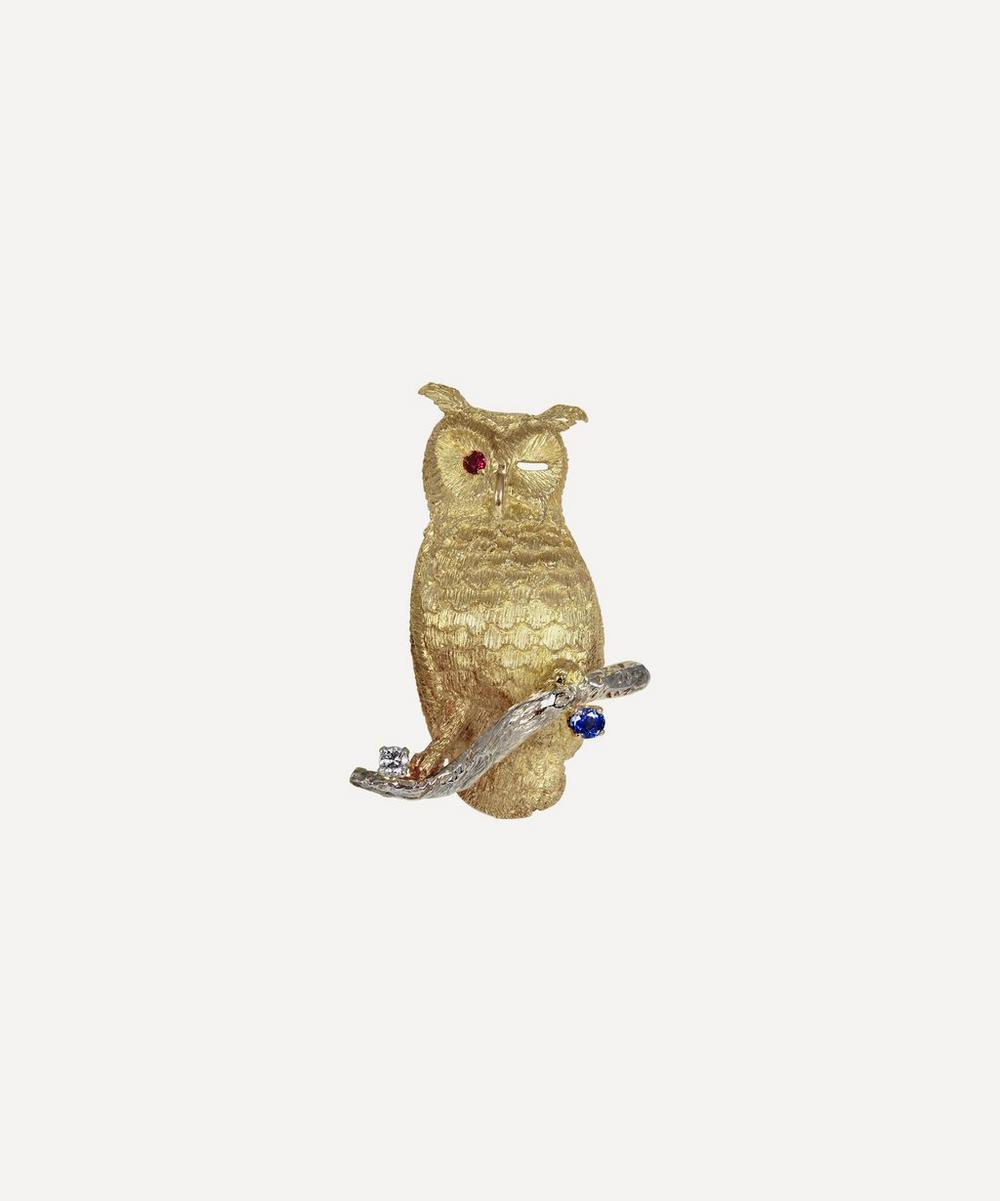 Kojis - Gold Multi-Stone Owl Brooch